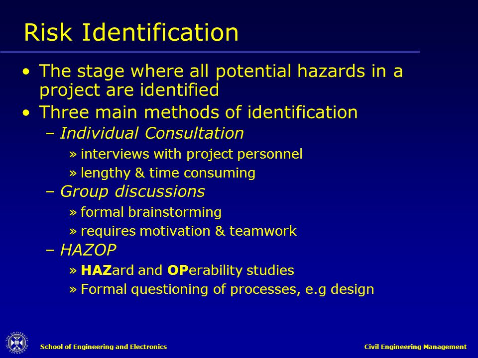 Risk Identification The stage where all potential hazards in a project are identified. Three main methods of identification.