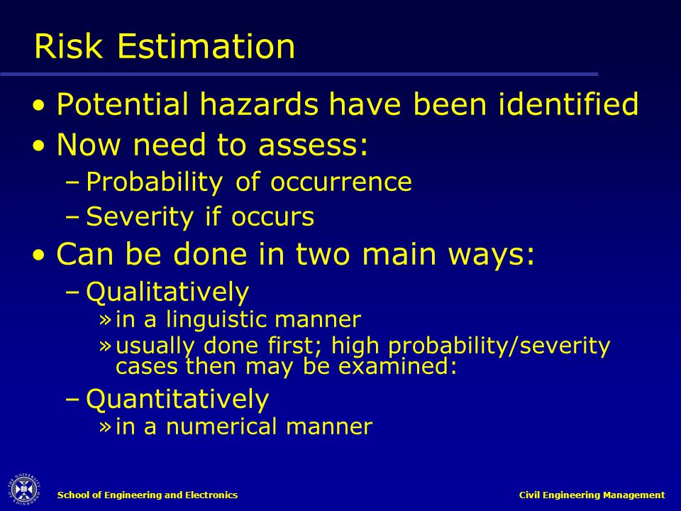 Risk Estimation Potential hazards have been identified