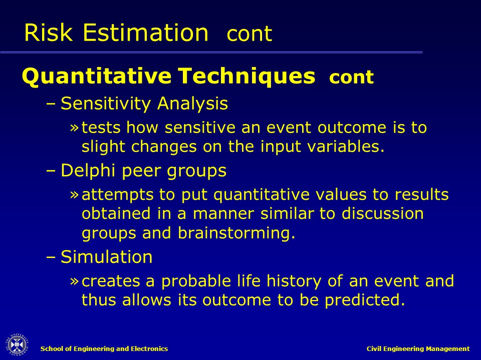Risk Estimation cont Quantitative Techniques cont Sensitivity Analysis