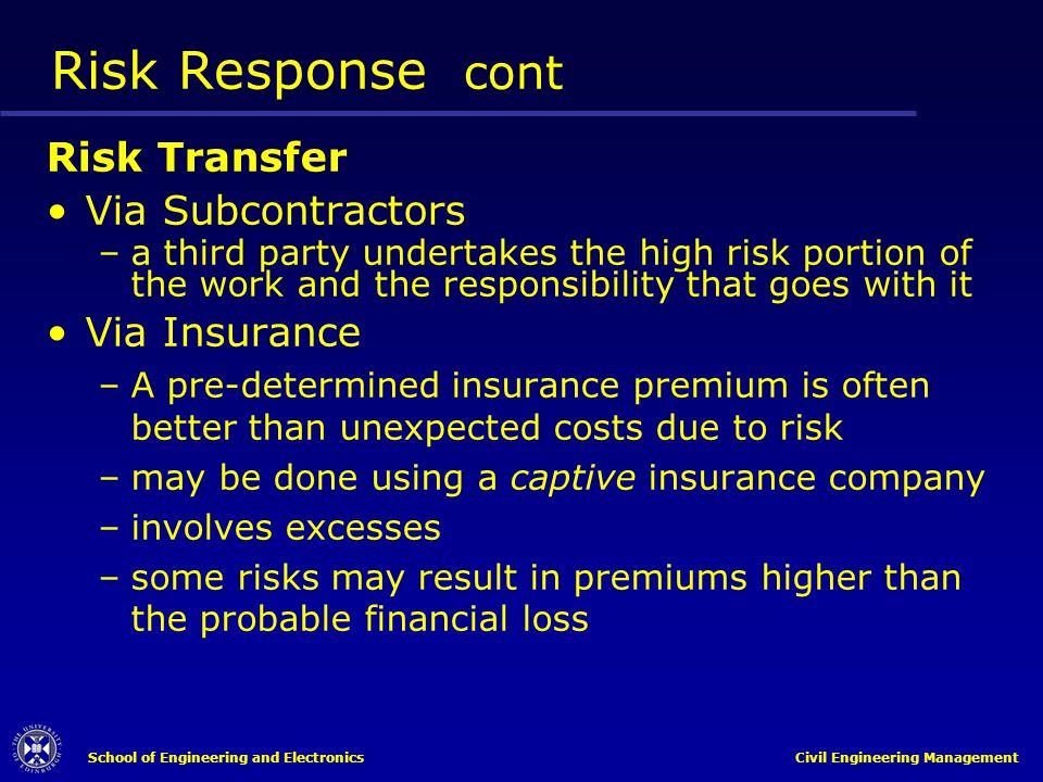 Risk Response cont Risk Transfer Via Subcontractors Via Insurance