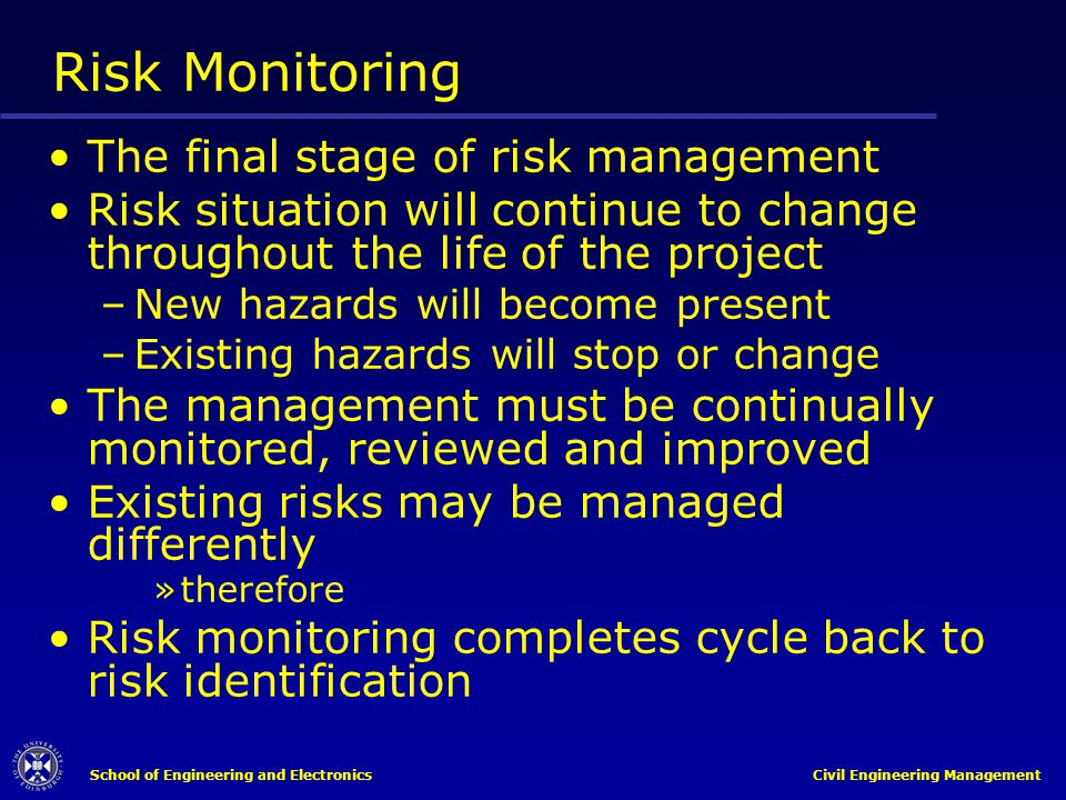 Risk Monitoring The final stage of risk management