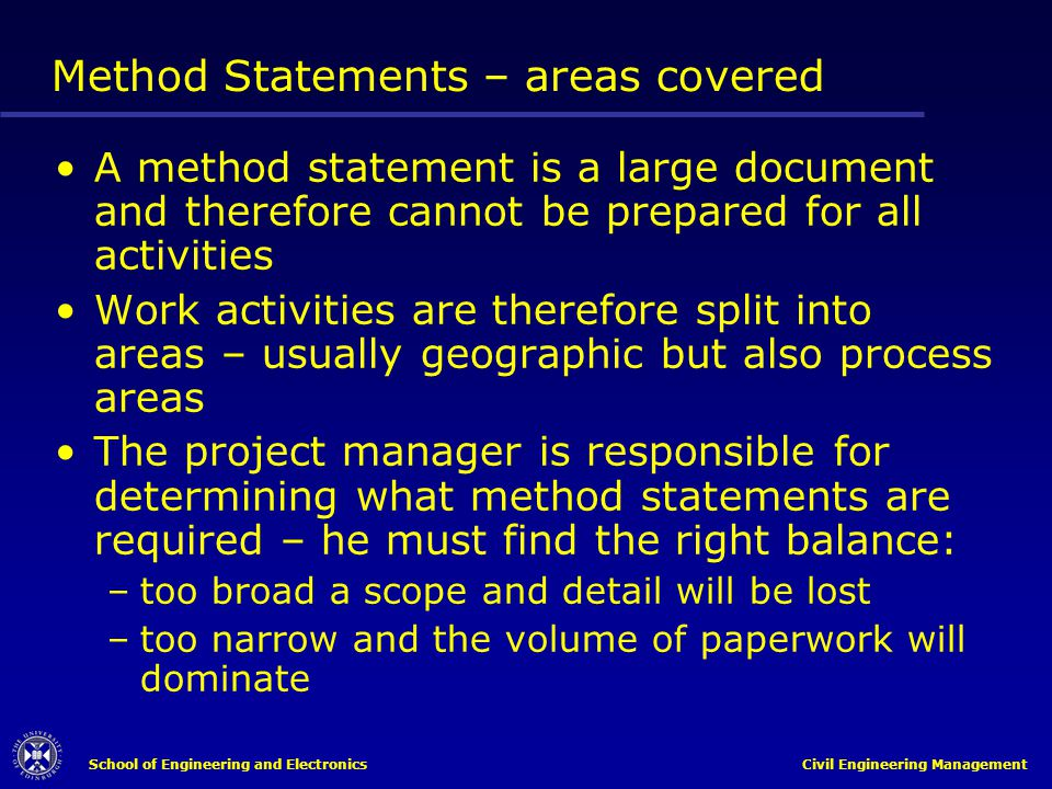 Method Statements – areas covered