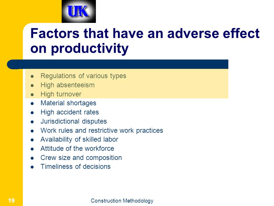 Factors that have an adverse effect on productivity