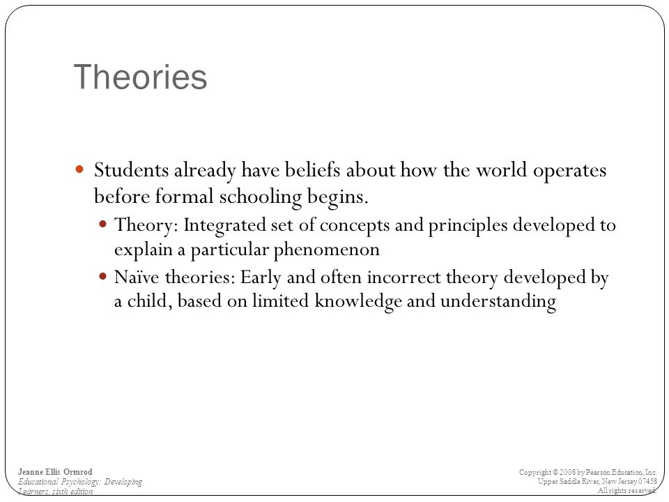 Theories Students already have beliefs about how the world operates before formal schooling begins.