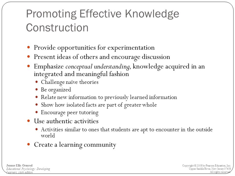 Promoting Effective Knowledge Construction