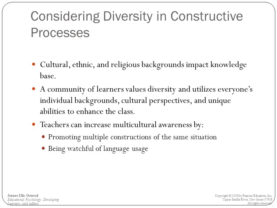 Considering Diversity in Constructive Processes