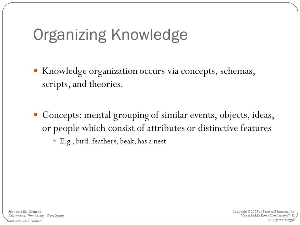Organizing Knowledge Knowledge organization occurs via concepts, schemas, scripts, and theories.