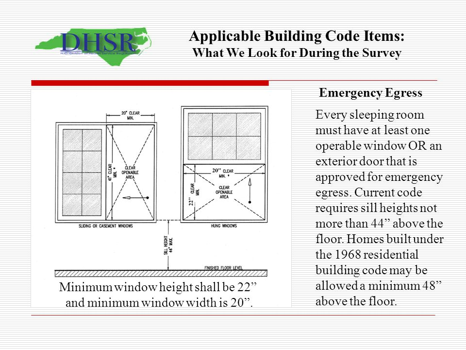 Construction section requirements ppt video online download for Window height from floor