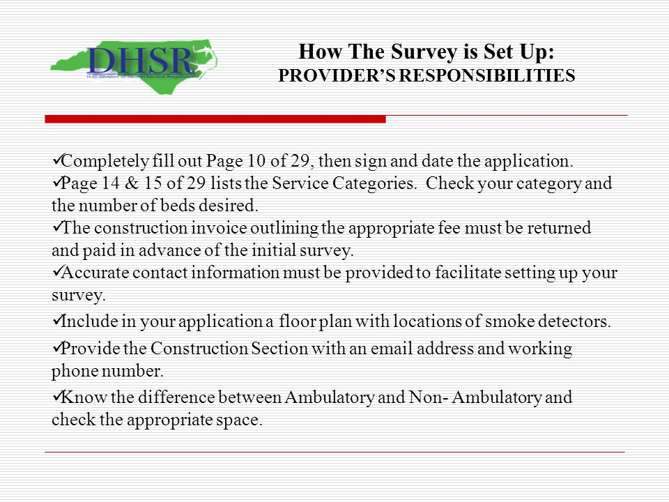 How The Survey is Set Up: PROVIDER'S RESPONSIBILITIES