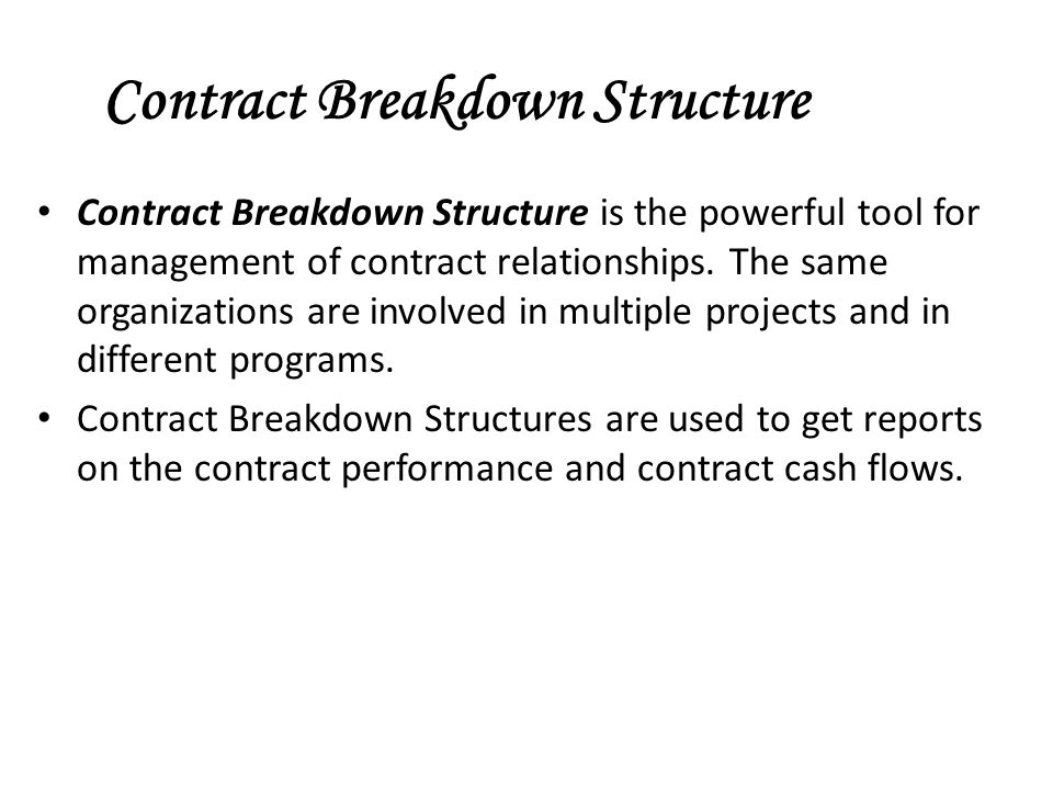 Contract Breakdown Structure