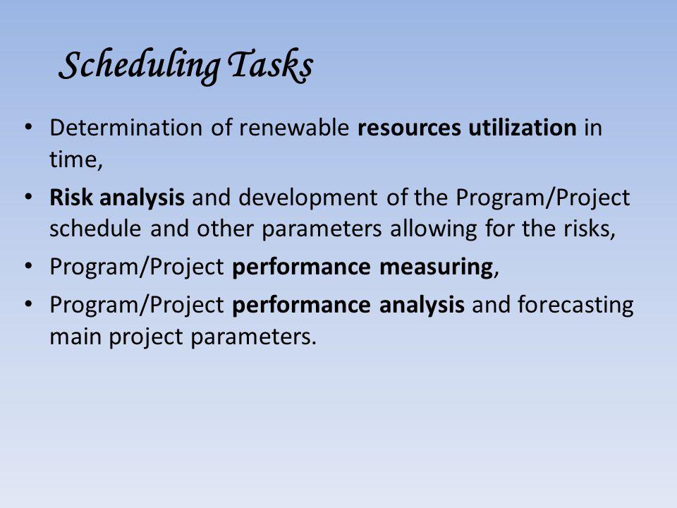 Scheduling Tasks Determination of renewable resources utilization in time,