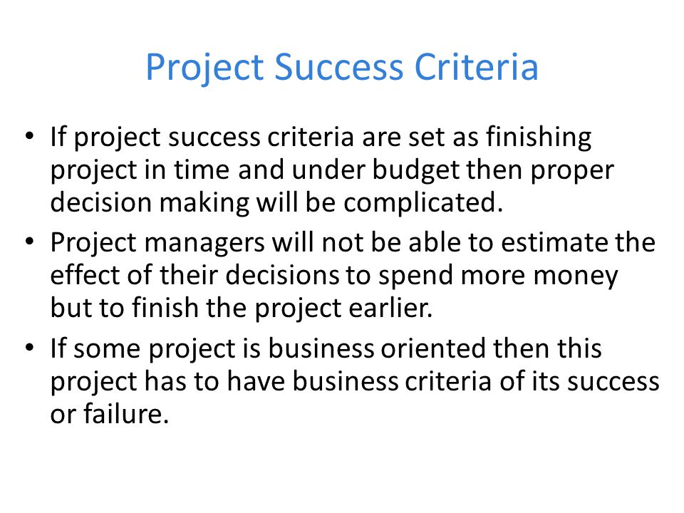 Project Success Criteria