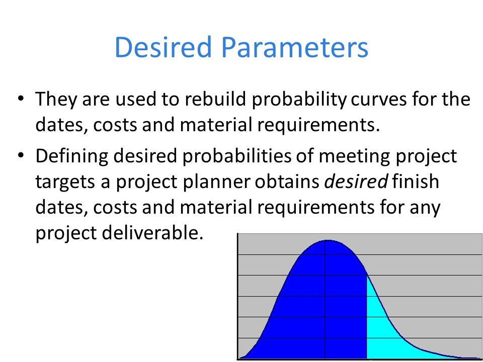 Desired Parameters They are used to rebuild probability curves for the dates, costs and material requirements.