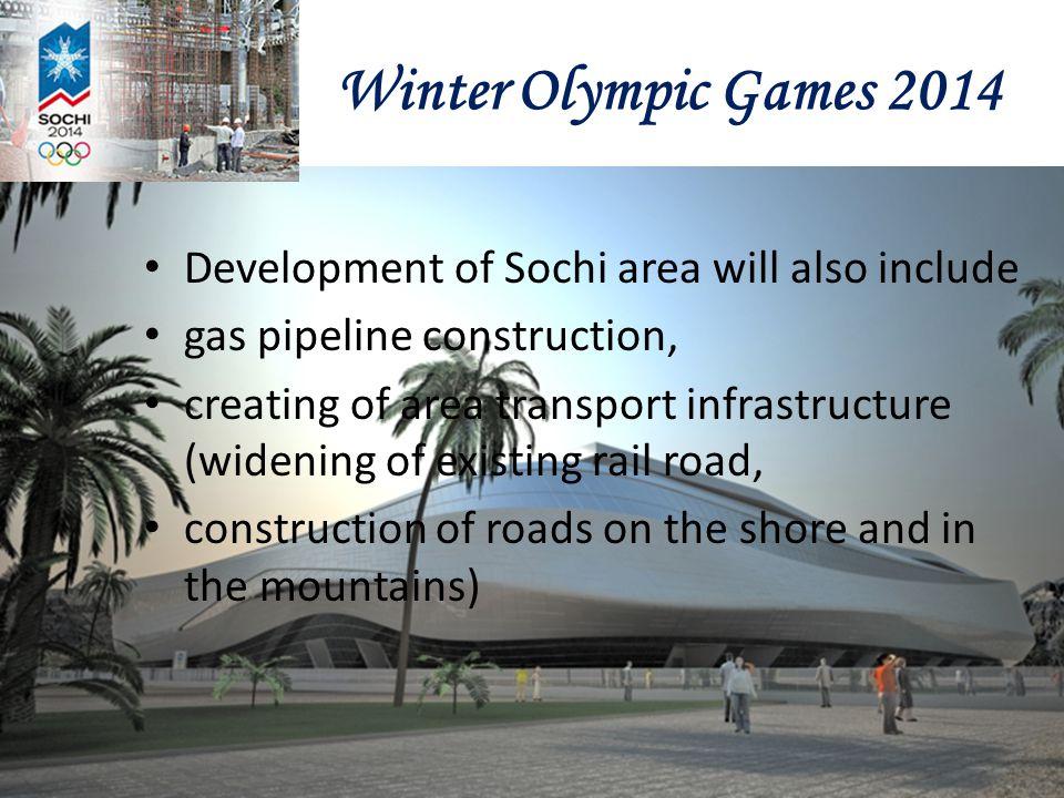 Winter Olympic Games 2014 Development of Sochi area will also include