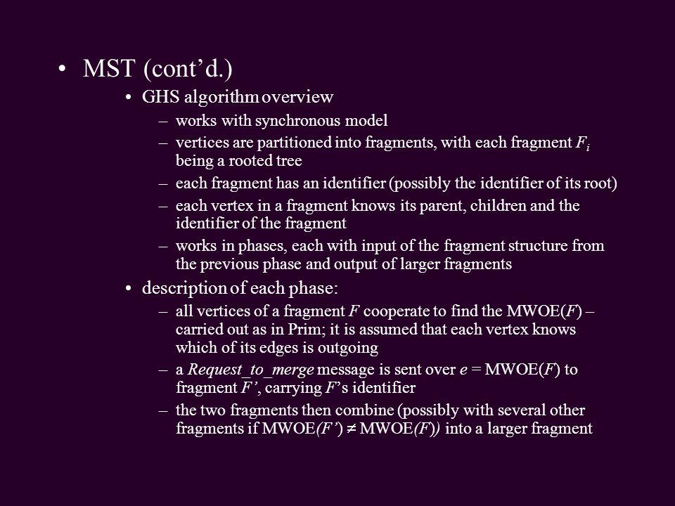 MST (cont'd.) GHS algorithm overview description of each phase: