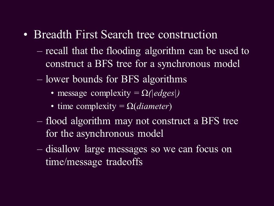 Breadth First Search tree construction
