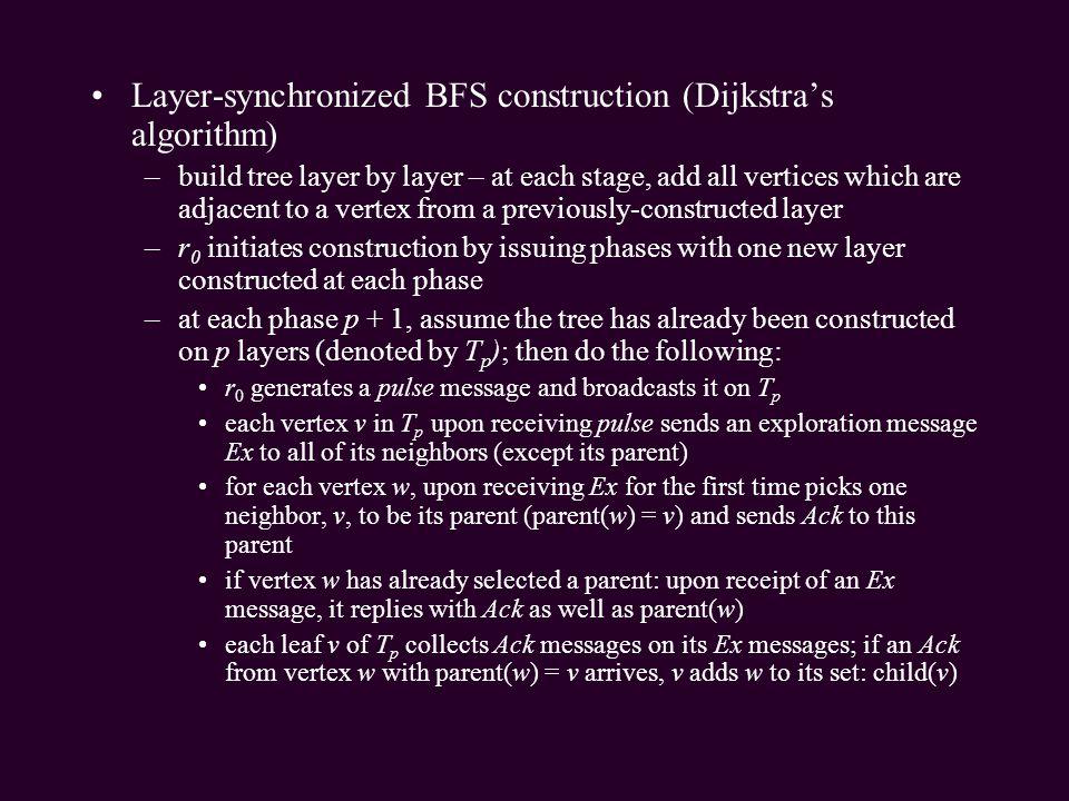 Layer-synchronized BFS construction (Dijkstra's algorithm)