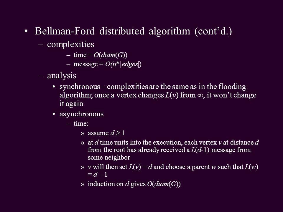 Bellman-Ford distributed algorithm (cont'd.)