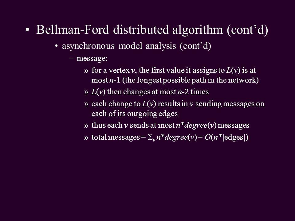 Bellman-Ford distributed algorithm (cont'd)