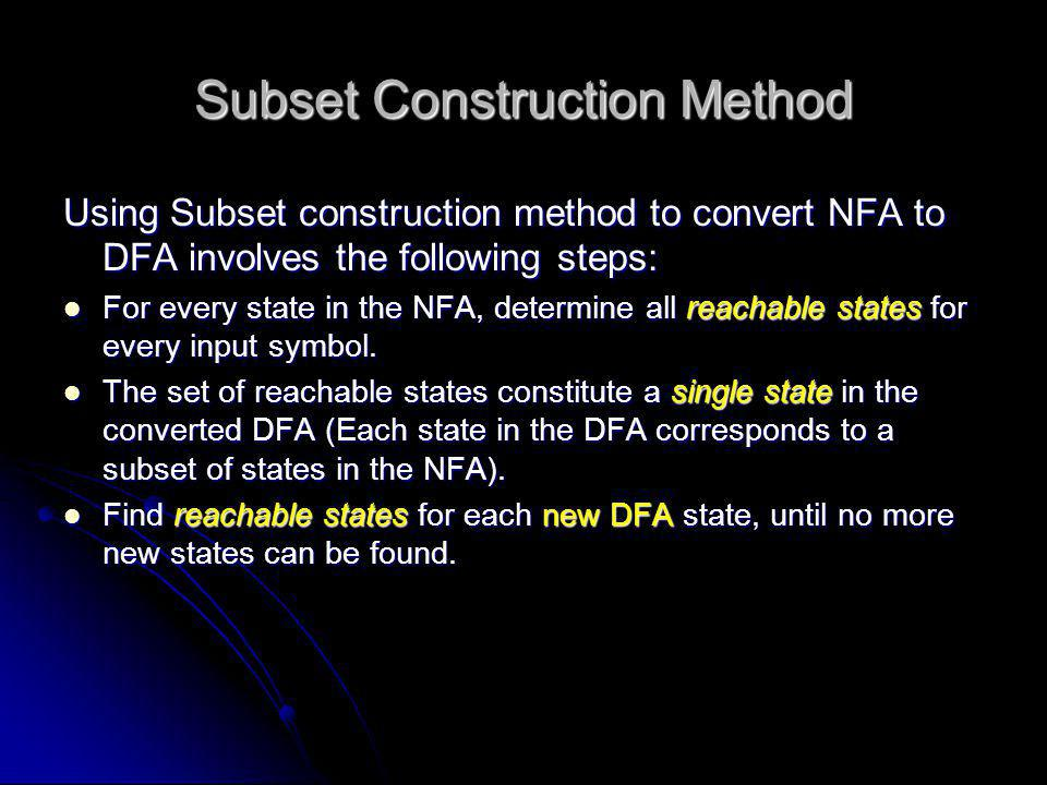Subset Construction Method