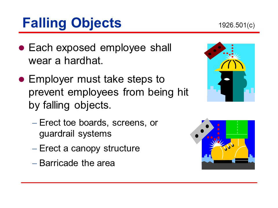 Falling Objects 1926.501(c) Each exposed employee shall wear a hardhat.