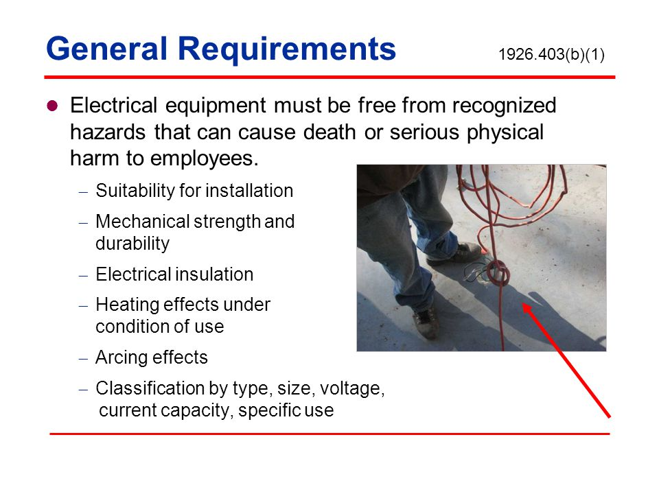 General Requirements 1926.403(b)(1)