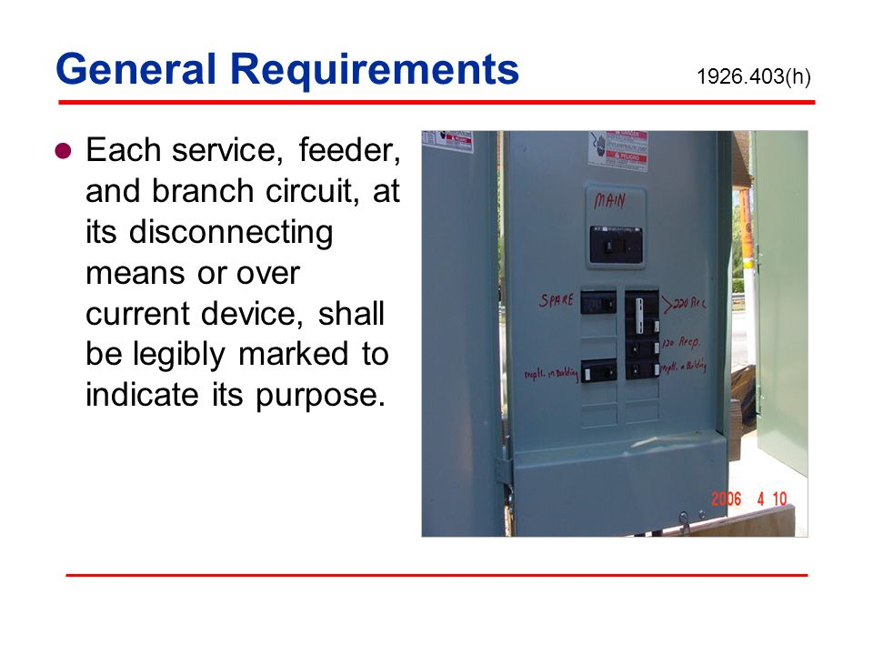 General Requirements 1926.403(h)