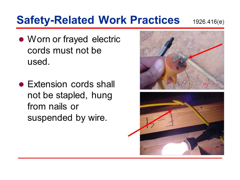 Safety-Related Work Practices 1926.416(e)