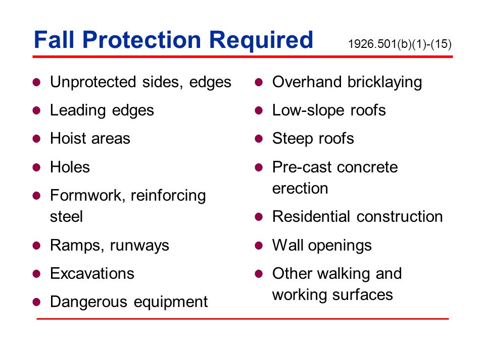 Fall Protection Required 1926.501(b)(1)-(15)