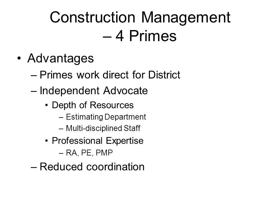 Construction Management – 4 Primes