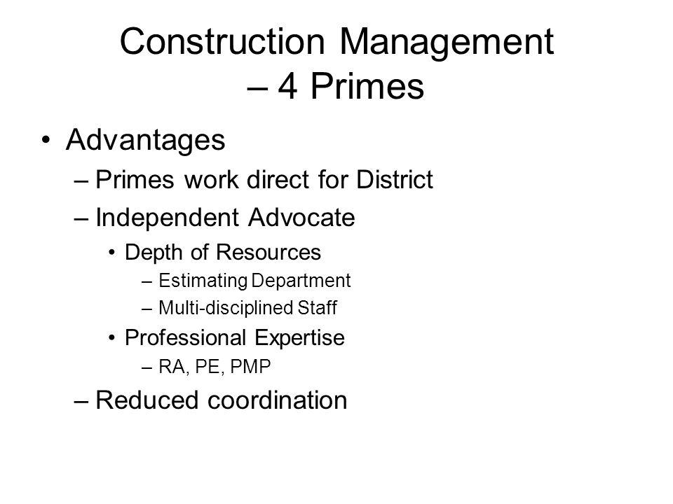 Construction Management – 4 Primes