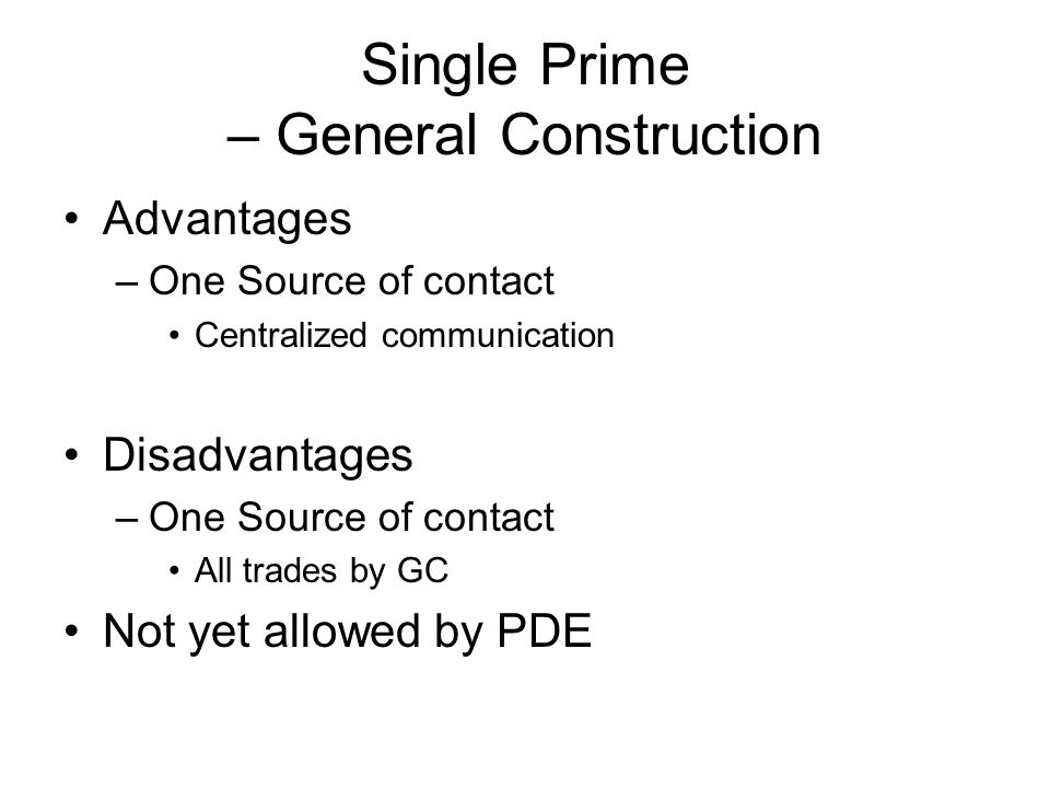 Single Prime – General Construction