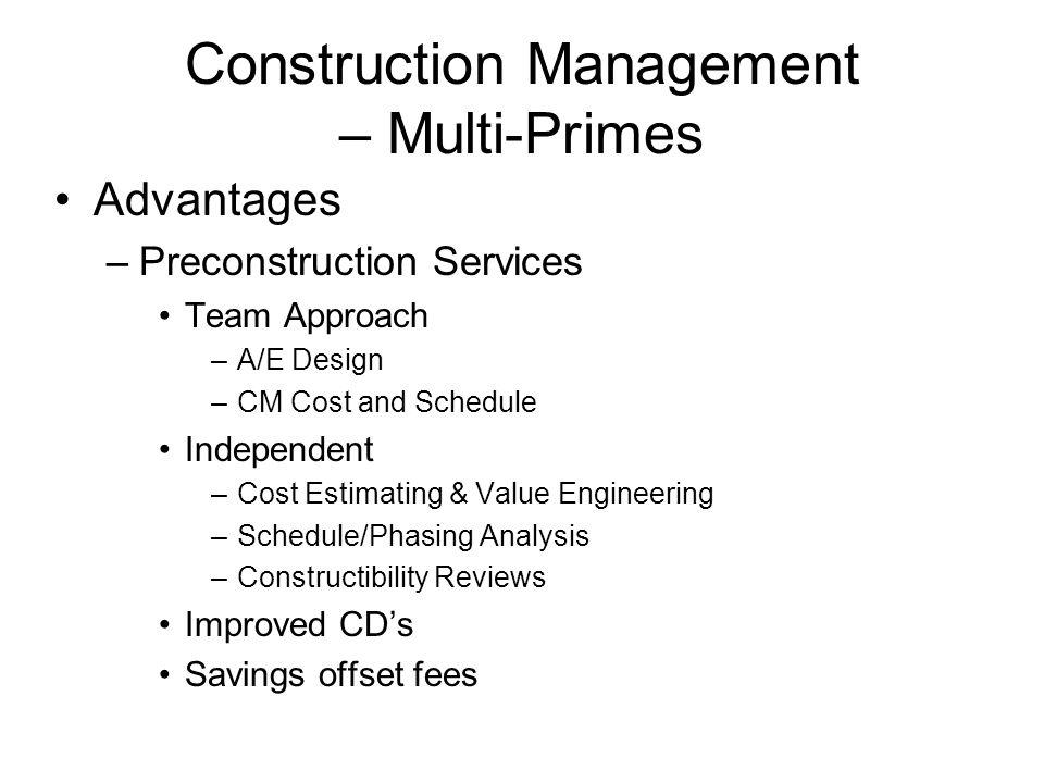 Construction Management – Multi-Primes