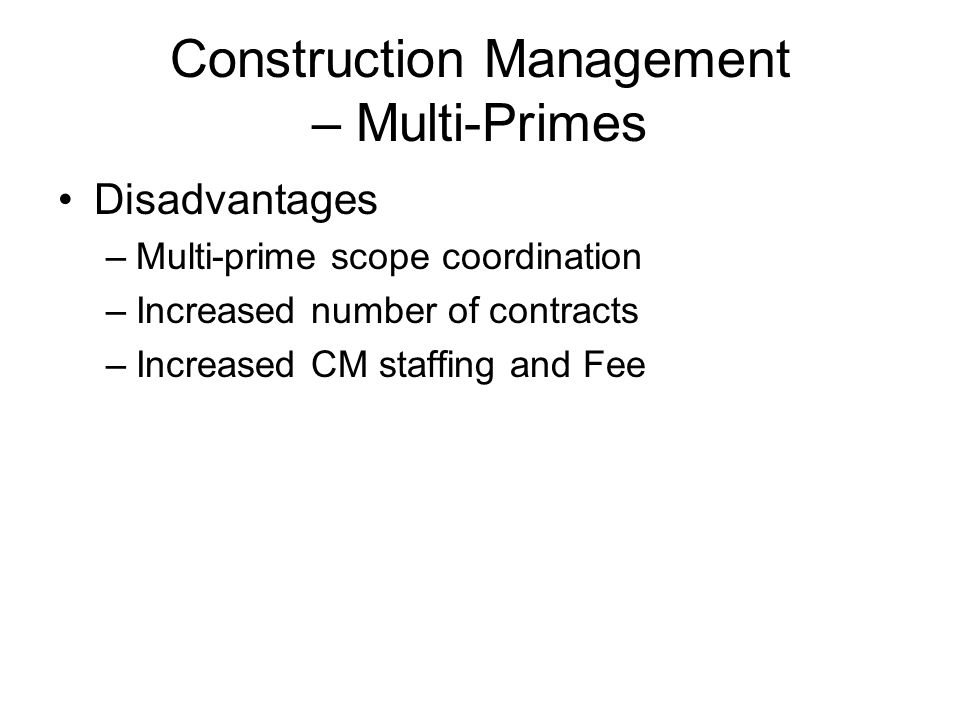 Construction Management – Multi-Primes