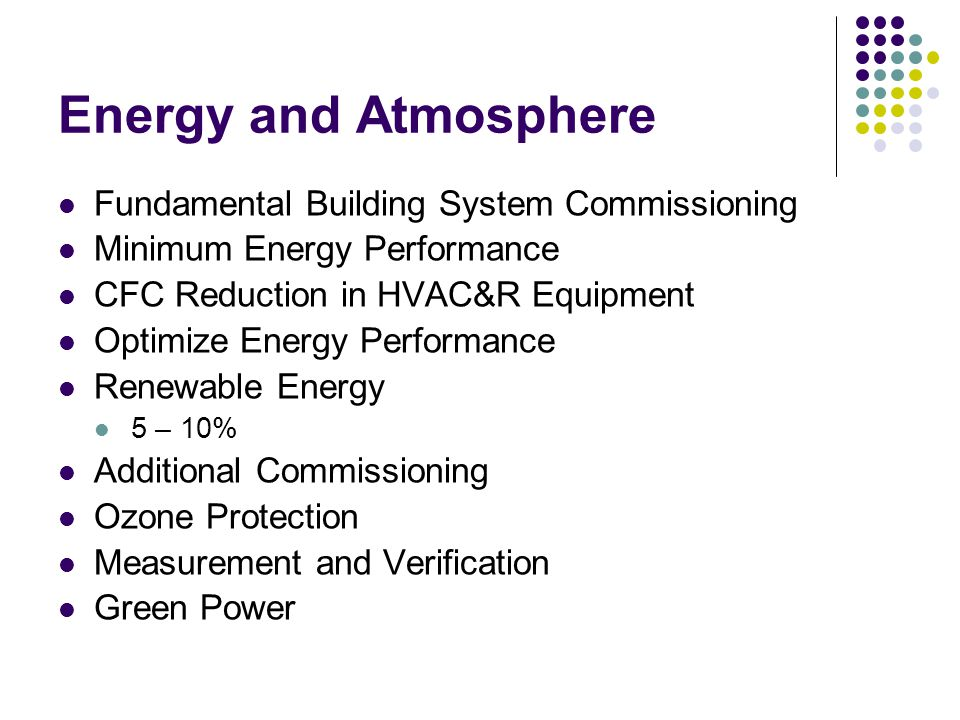 Energy and Atmosphere Fundamental Building System Commissioning