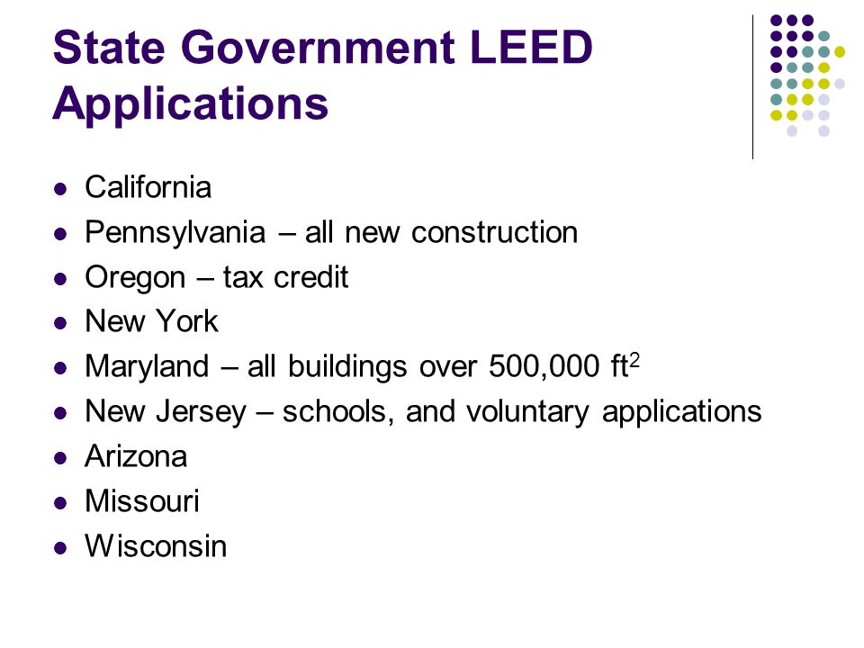 State Government LEED Applications