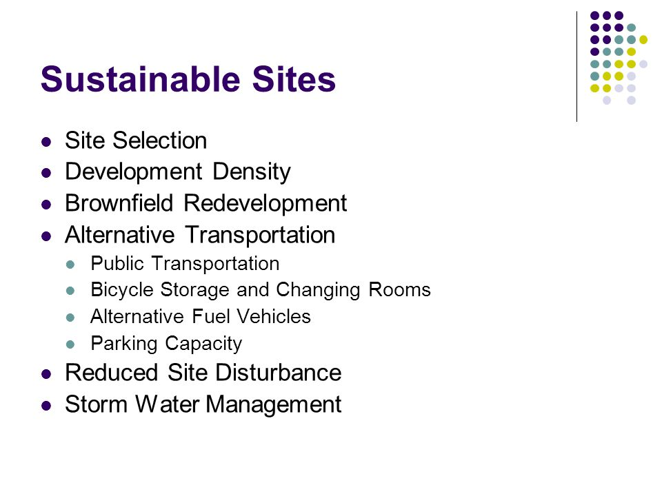 Sustainable Sites Site Selection Development Density