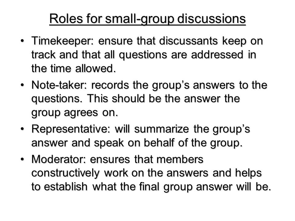Roles for small-group discussions