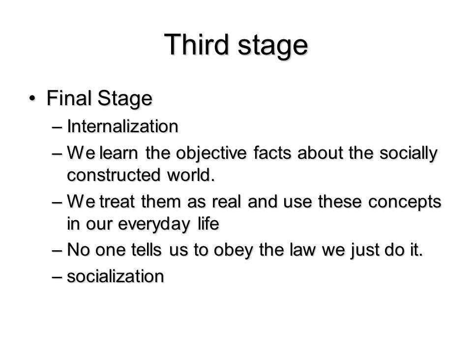 Third stage Final Stage Internalization