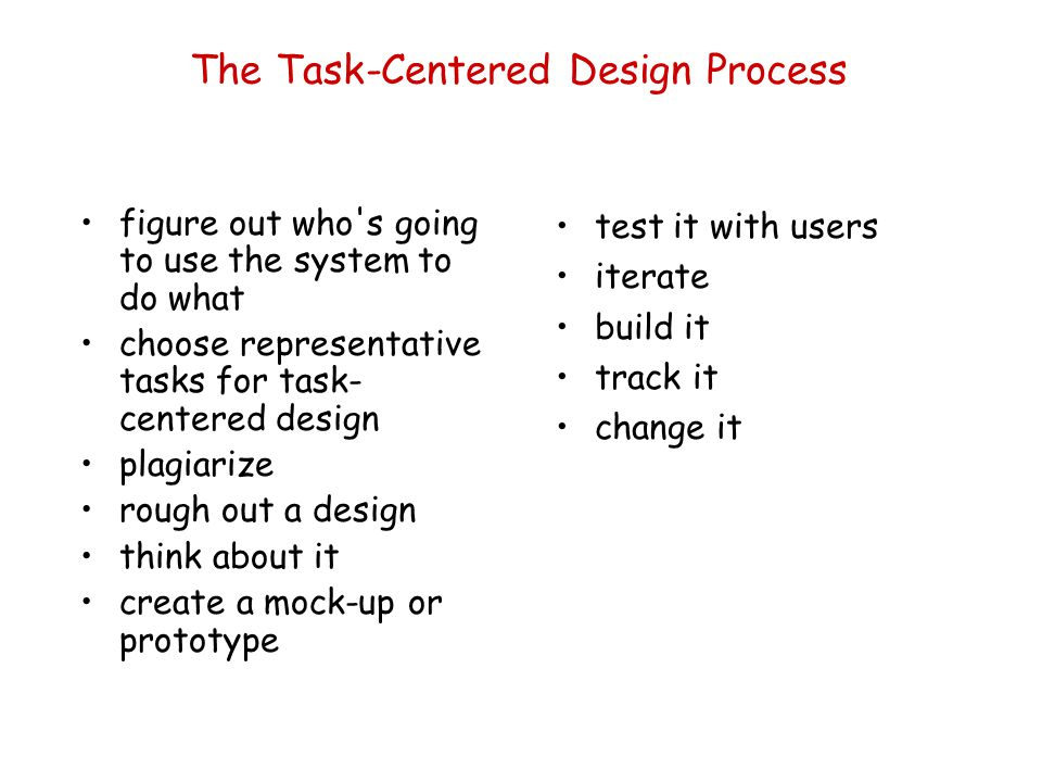 The Task-Centered Design Process