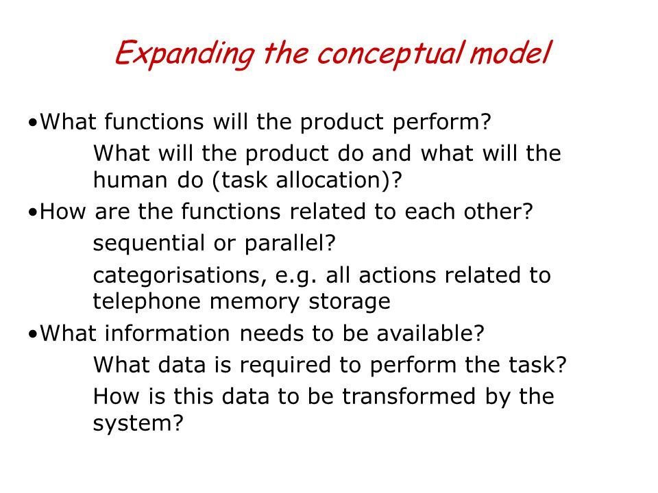 Expanding the conceptual model