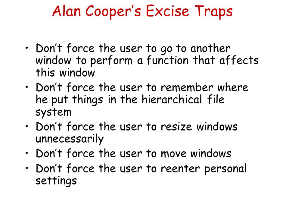 Alan Cooper's Excise Traps