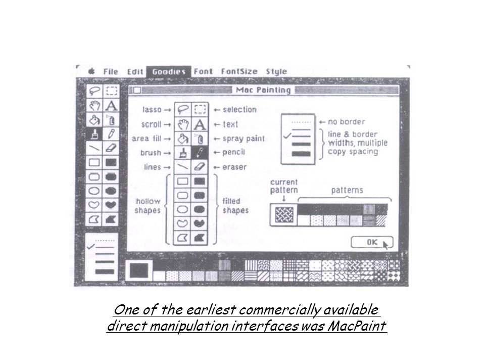One of the earliest commercially available direct manipulation interfaces was MacPaint