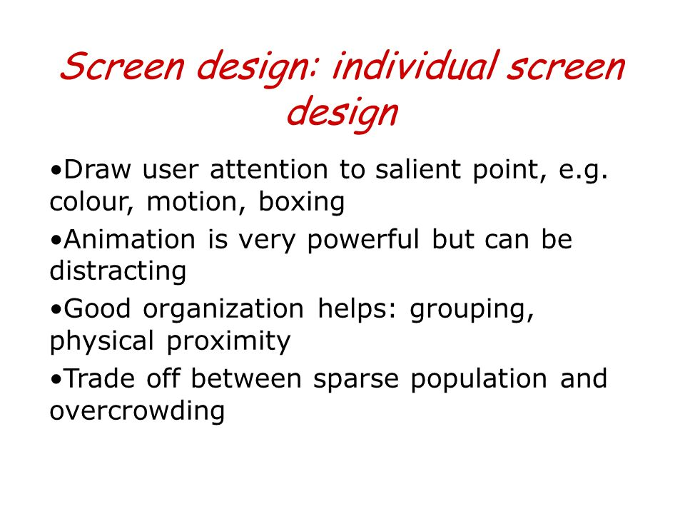 Screen design: individual screen design