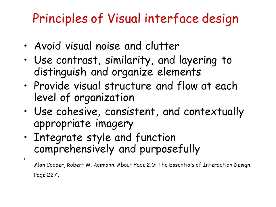 Principles of Visual interface design