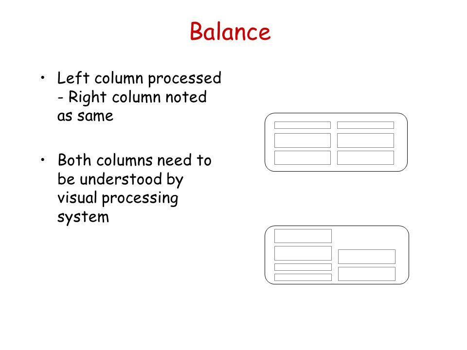 Balance Left column processed - Right column noted as same