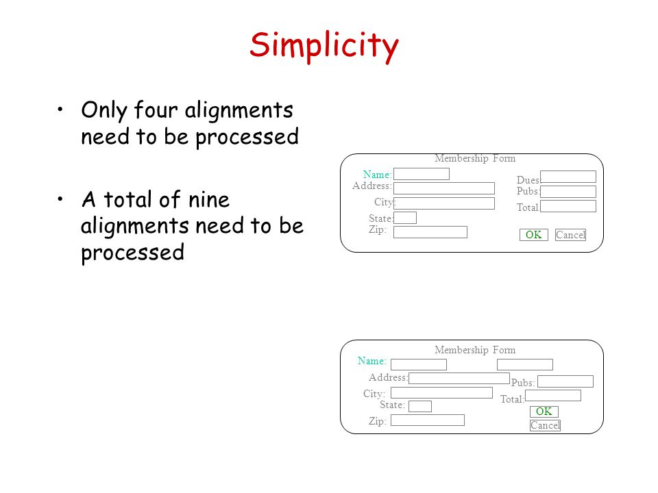 Simplicity Only four alignments need to be processed