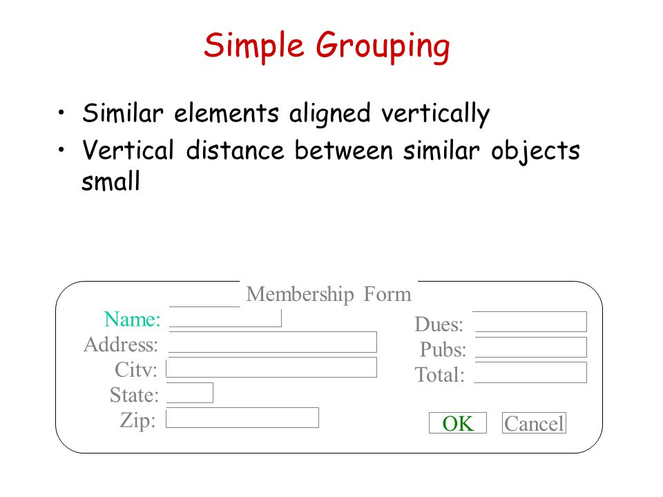 Simple Grouping Similar elements aligned vertically