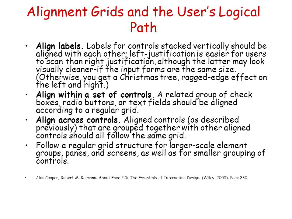 Alignment Grids and the User's Logical Path