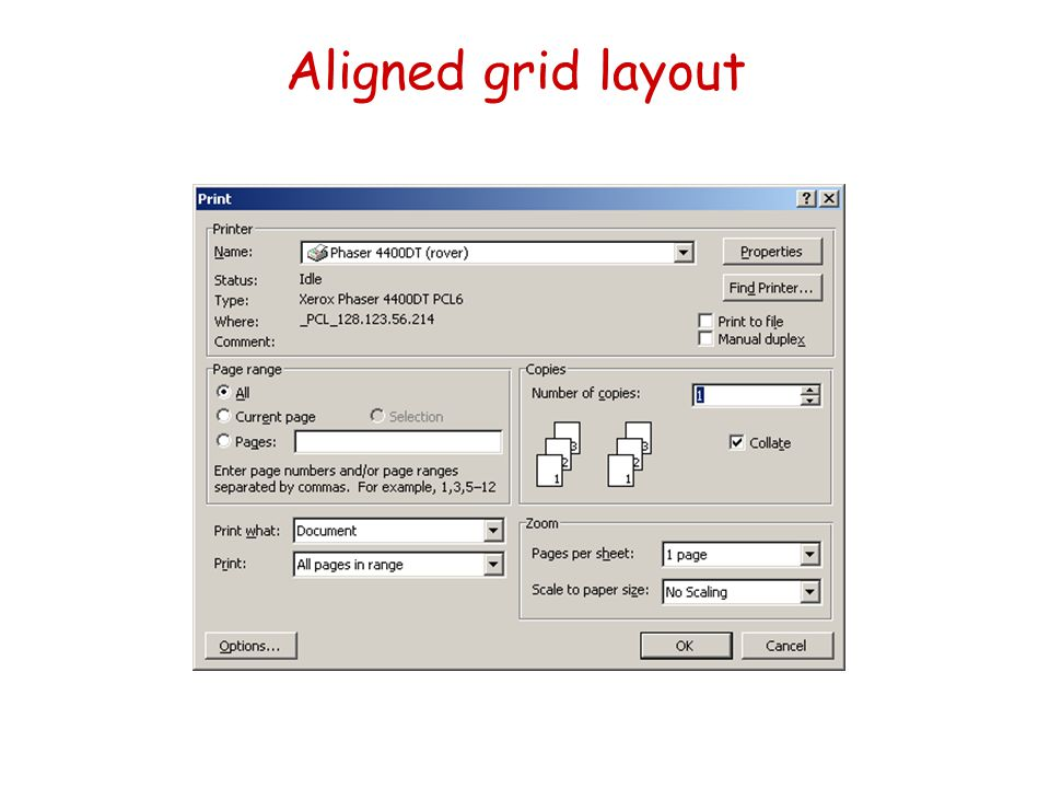 Aligned grid layout